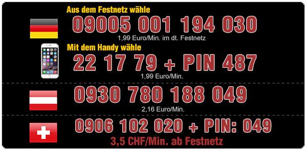 Telefonsex Nummern sofort verbunden. Österreich - Deutschland - Schweiz